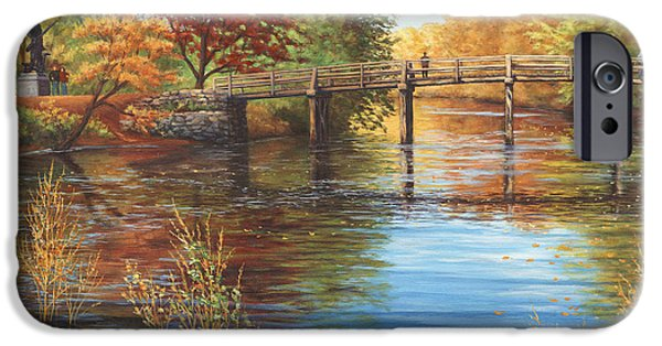 Concord Ma. iPhone Cases - Water Under the Bridge Old North Bridge MA iPhone Case by Elaine Farmer
