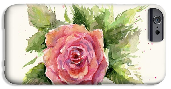 Red Rose iPhone 6 Case - Watercolor Rose by Olga Shvartsur
