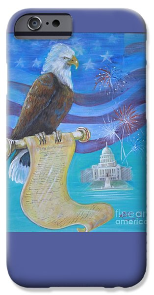 4th July Paintings iPhone Cases - We The People iPhone Case by Ruth Ann Murdock