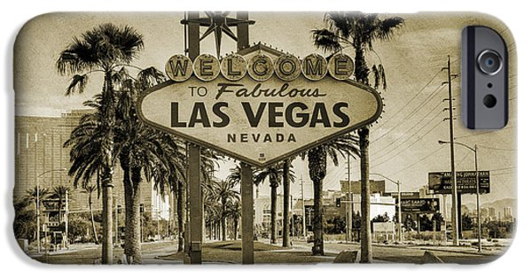 Sepia iPhone 6 Case - Welcome To Las Vegas Series Sepia Grunge by Ricky Barnard