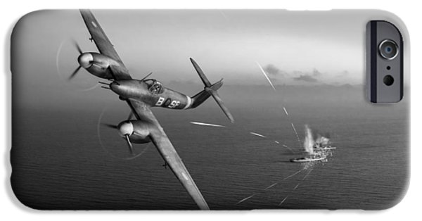 IPhone 6 Case featuring the photograph Westland Whirlwind Attacking E-boats Black And White Version by Gary Eason