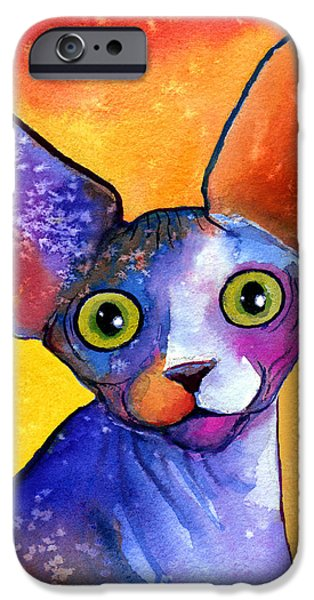 Cat Drawings iPhone Cases - Whimsical Sphynx Cat painting iPhone Case by Svetlana Novikova