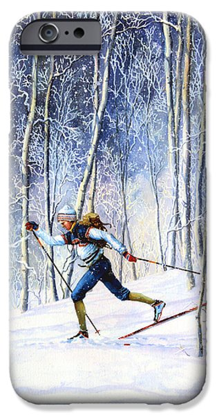 Winter iPhone Cases - Whispering Tracks iPhone Case by Hanne Lore Koehler