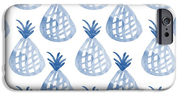 Blue iPhone 6 Case - White And Blue Pineapple Party by Linda Woods