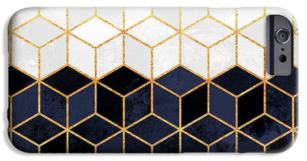 Blue iPhone 6 Case - White And Navy Cubes by Elisabeth Fredriksson
