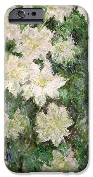 White iPhone Cases - White Clematis iPhone Case by Claude Monet