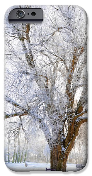 Wolf Picture Art iPhone Cases - White Winter Tree iPhone Case by Svetlana Sewell