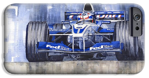 Automotive iPhone Cases - Williams BMW FW24 2002 Juan Pablo Montoya iPhone Case by Yuriy  Shevchuk