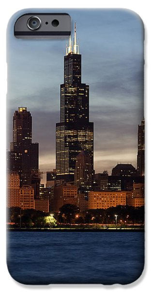 Willis Tower iPhone Cases - Willis Tower at Dusk aka Sears Tower iPhone Case by Adam Romanowicz