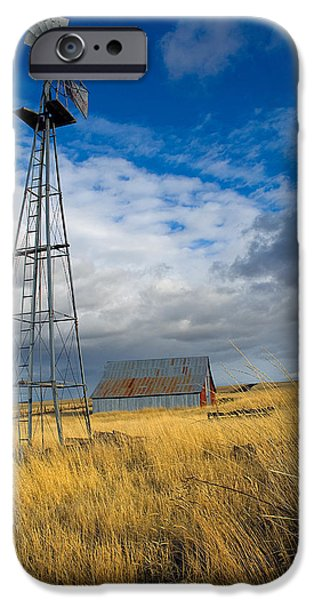 Old Barn iPhone Cases - Windmill and Barn iPhone Case by Storm Smith