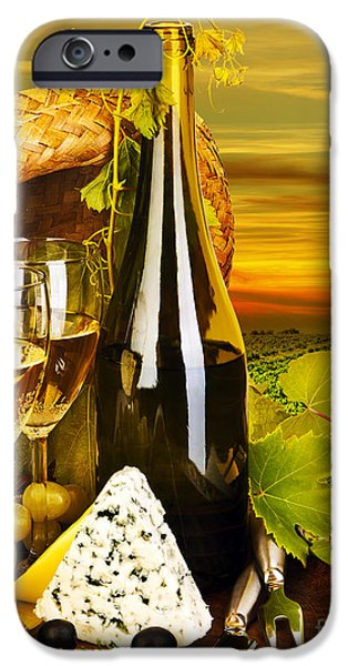 Table Wine iPhone Cases - Wine and cheese romantic dinner outdoor iPhone Case by Anna Omelchenko