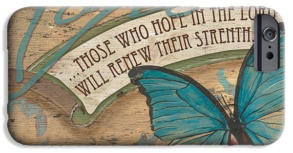 Bible Verse iPhone Cases - Wings of Hope iPhone Case by Debbie DeWitt