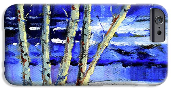 IPhone 6 Case featuring the painting Winter By The River by Nancy Merkle