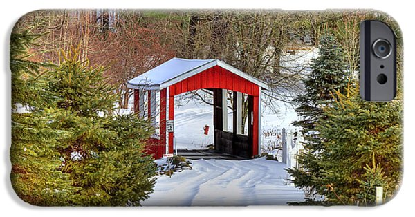 Covered Bridge iPhone Cases - Winter Crossing iPhone Case by Evelina Kremsdorf