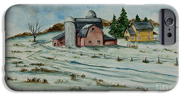 Winter Scene iPhone Cases - Winter Down On The Farm iPhone Case by Charlotte Blanchard
