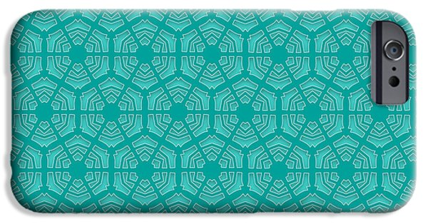 Seamless Tapestries - Textiles iPhone Cases - Winter emerald green  hexagonal snowflakes pattern iPhone Case by Jozef Jankola