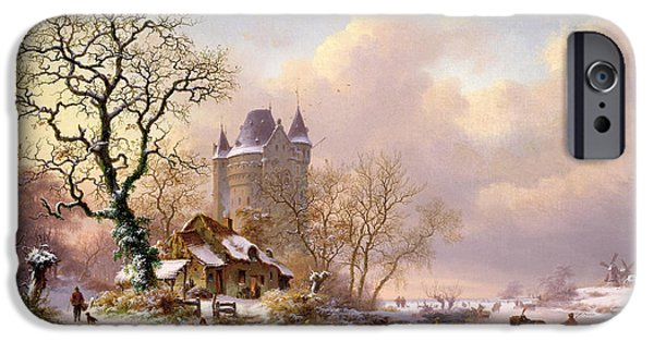 Castle iPhone Cases - Winter Landscape with Castle iPhone Case by Frederick Marianus Kruseman