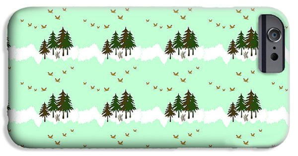 IPhone 6 Case featuring the mixed media Winter Woodlands Bird Pattern by Christina Rollo
