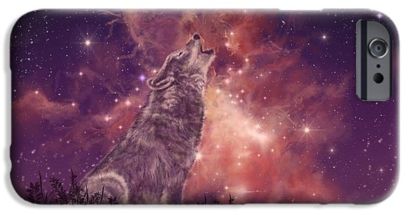 Red iPhone 6 Case - Wolf And Sky Red by Bekim M
