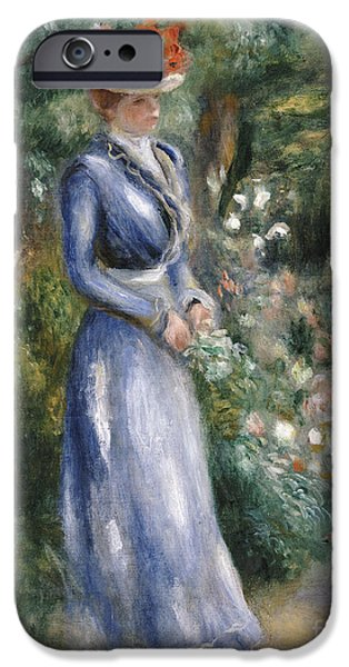 Woman In A Dress iPhone Cases - Woman in a Blue Dress Standing in the Garden at Saint-Cloud iPhone Case by Pierre Auguste Renoir