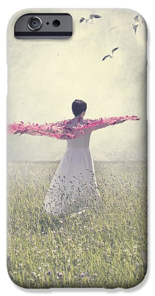 Shawl iPhone Cases - Woman On A Lawn iPhone Case by Joana Kruse