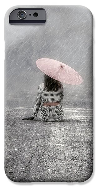 Rain iPhone Cases - Woman On The Street iPhone Case by Joana Kruse