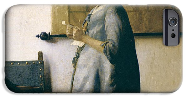 Holland Paintings iPhone Cases - Woman Reading a Letter iPhone Case by Jan Vermeer