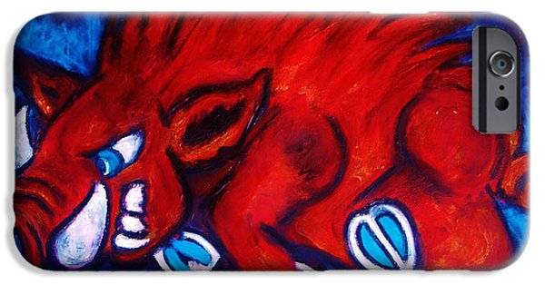 Mascots Mixed Media iPhone Cases - Woo Pig iPhone Case by Laura  Grisham