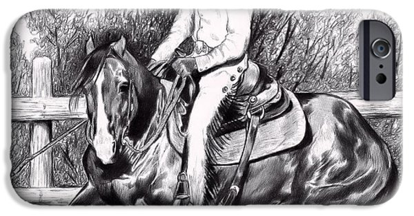 Drawing Of A Horse iPhone Cases - Working in the Pen-Bic Pen that is iPhone Case by Cheryl Poland