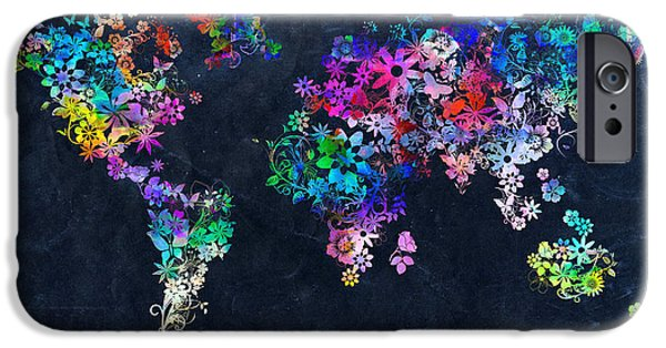 Abstract Flowers Images iPhone Cases - World Map Floral 10 iPhone Case by MB Art factory
