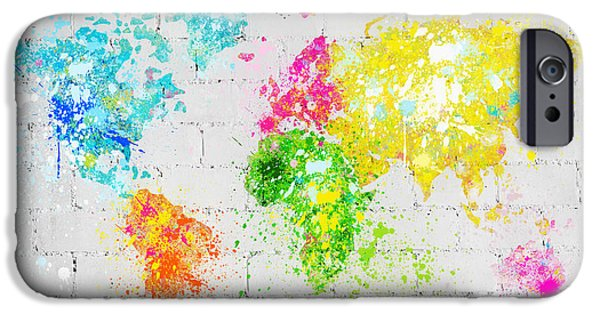 Dirty Digital iPhone Cases - World Map Painting On Brick Wall iPhone Case by Setsiri Silapasuwanchai