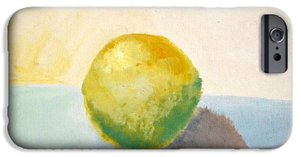 Sphere Paintings iPhone Cases - Yellow Lemon Still Life iPhone Case by Michelle Calkins