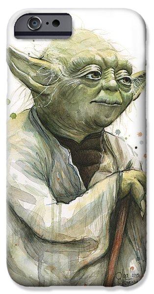 Yoda iPhone 6 Case - Yoda Watercolor by Olga Shvartsur