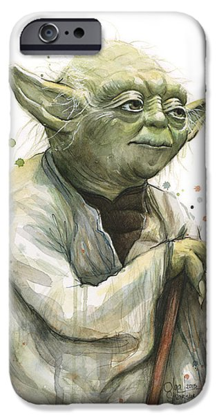 Star iPhone 6 Case - Yoda Watercolor by Olga Shvartsur