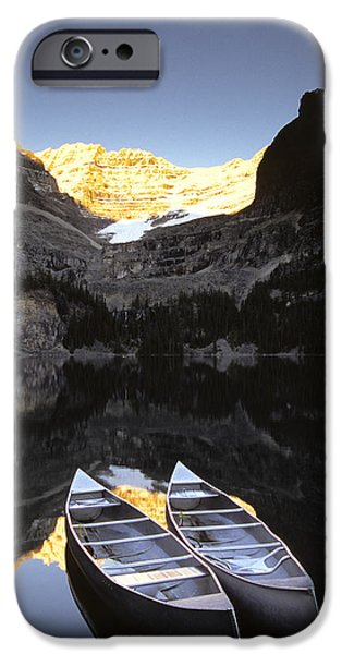Canoe iPhone Cases - Yoho National Park, Lake Ohara, British iPhone Case by Ron Watts