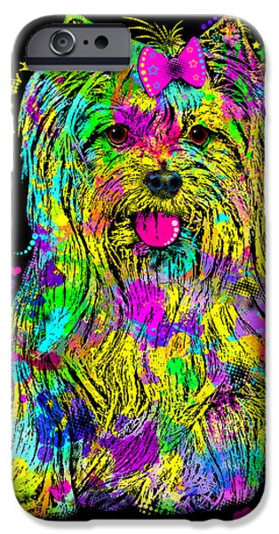 Yorkshire Terrier Art iPhone Cases - Yorkie Beauty iPhone Case by Zaira Dzhaubaeva
