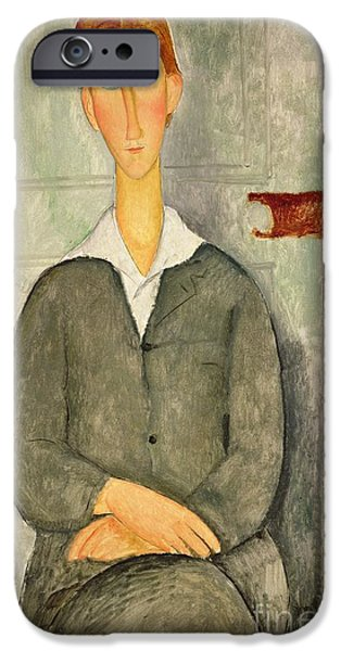 Young Boy iPhone Cases - Young boy with red hair iPhone Case by Amedeo Modigliani