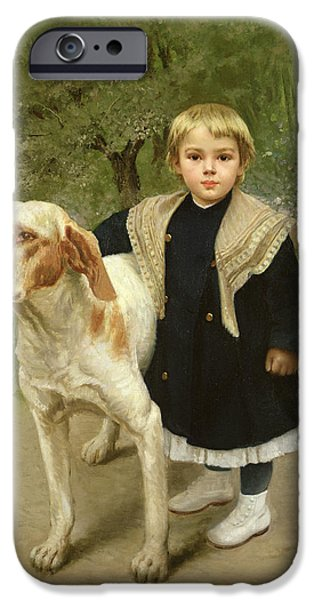 Pathway iPhone Cases - Young Child and a Big Dog iPhone Case by Luigi Toro