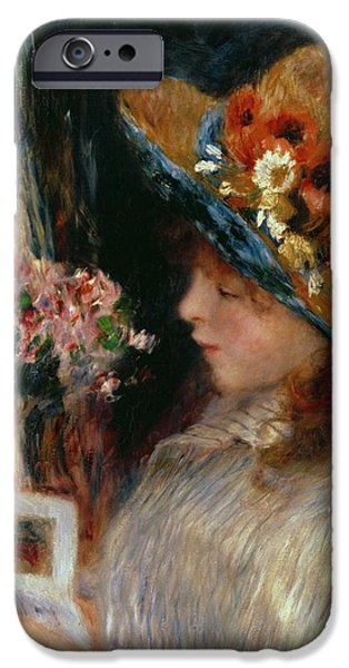 Young Paintings iPhone Cases - Young Girl Reading iPhone Case by Pierre Auguste Renoir