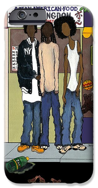Nike Paintings iPhone Cases - Zee Hoody Boyz iPhone Case by Karen-Lee