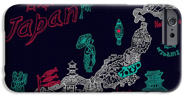 Buddhism iPhone 6 Case - Illustrated Map Of Japan by Daria i