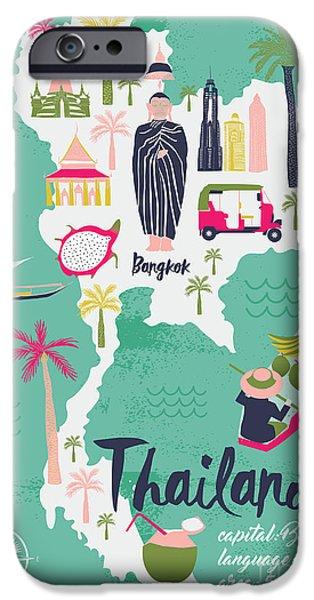 Buddhism iPhone 6 Case - Cartoon Map Of Thailand. Print Design by Lavandaart