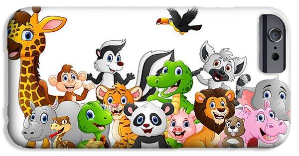 Bat iPhone 6 Case - Cartoon Wild Animals Background by Dualororua