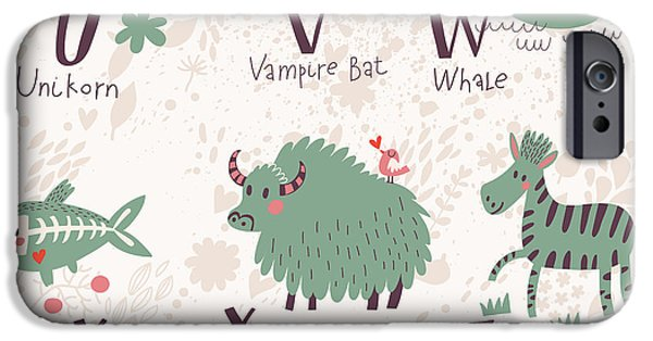 Bat iPhone 6 Case - Cute Zoo Alphabet In Vector. U, V, W by Smilewithjul