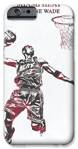 9b5f8d0be Wade iPhone 6 Case - Dwyane Wade Miami Heat Pixel Art 50 by Joe Hamilton