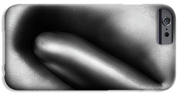 Nude Figurative iPhone 6 Case - Female Nude Silver Oil Close-up 3 by Johan Swanepoel