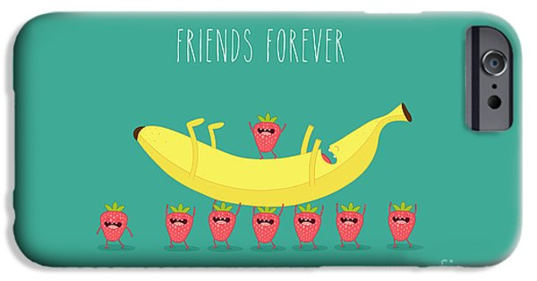 Smoothie iPhone 6 Case - Funny Strawberry With Banana. Comic by Serbinka