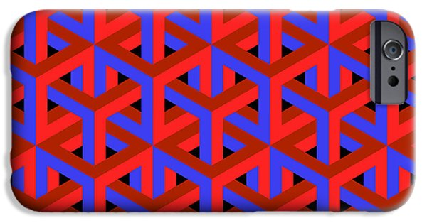 Illusion iPhone 6 Case - Geometric Optical Art Background In Red by Jkerrigan