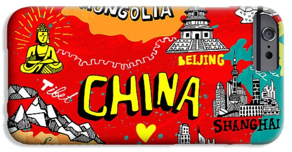 Buddhism iPhone 6 Case - Illustrated Map Of China by Daria i