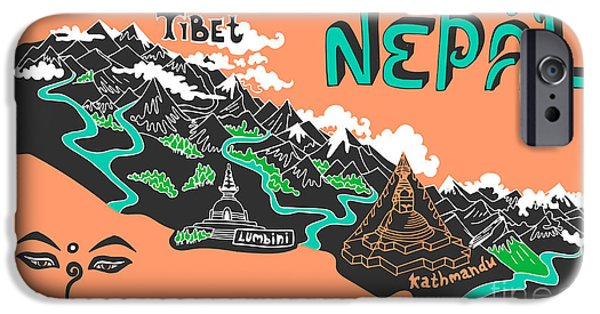 Buddhism iPhone 6 Case - Illustrated Map Of Nepal by Daria i